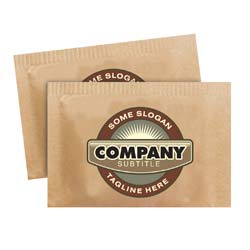 Custom Branded Demerara Cane Sugar - Single Serve .10 oz. Packets, 2,000 Count